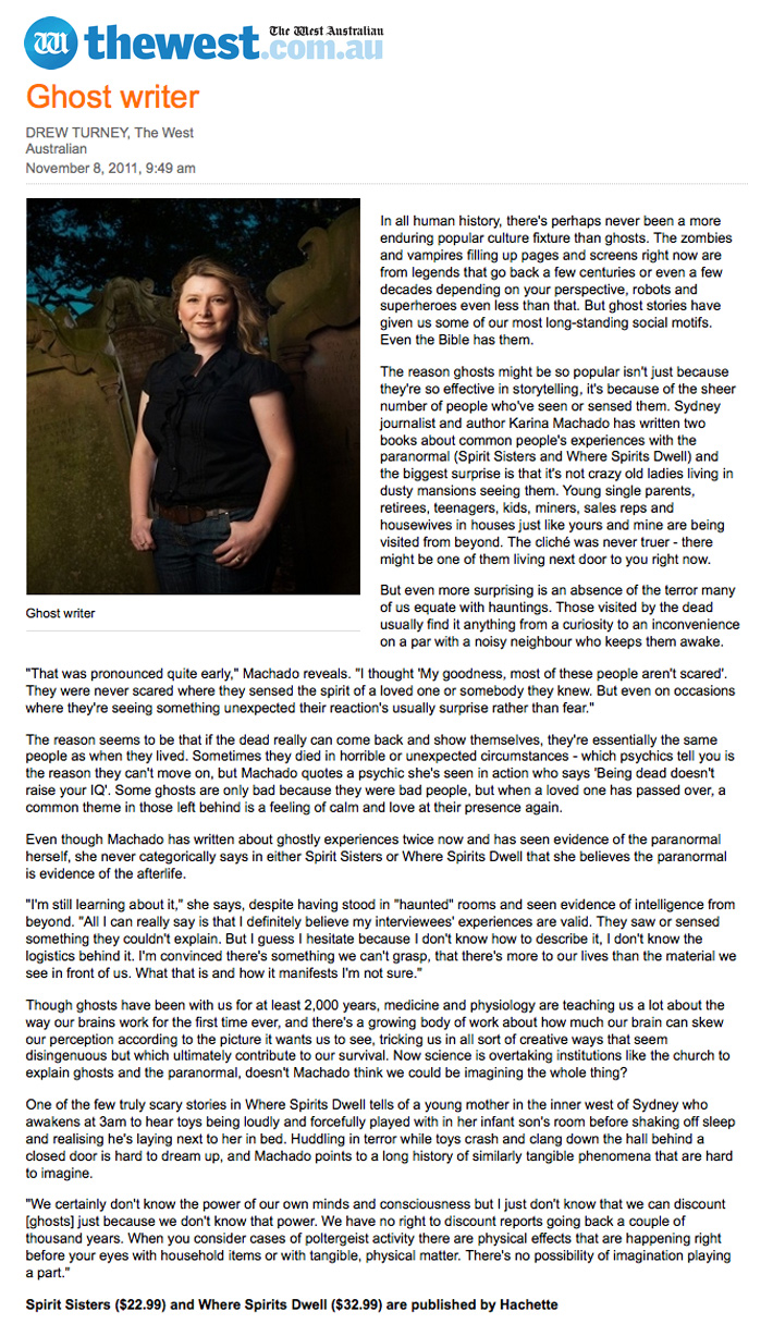 Karina Machado Ghost Writer Karina Machado Karina Machado Article In The West Australian