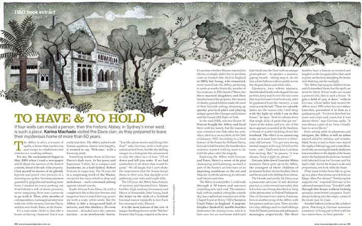 Where Spirits Dwell extract in House and Garden magazine 1
