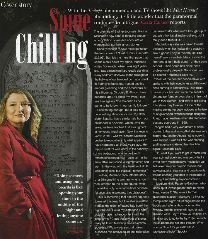 'Spine Chilling' article on Karina Machado in Nine To Five magazine