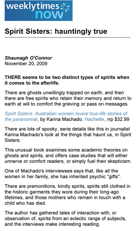 Spirit Sisters review in Weekly Times
